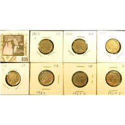 1929S, 30P, 35P, 36D, 37P, D, & S Buffalo Nickels. G-F.
