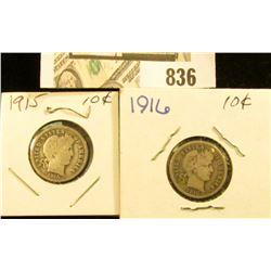1915 P & 1916 P U.S. Silver Barber Dimes.