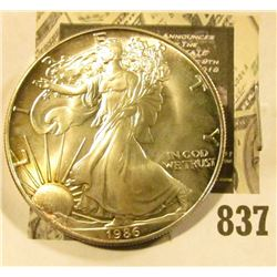 1986 U.S. Silver American eagle .999 Fine One-Ounce Dollar, BU.