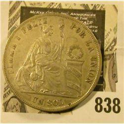 1874 Peru Silver One Sol, VF.