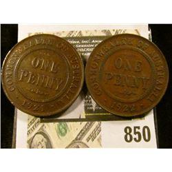 1921 & 22 Australia One-Penny Coppers, Fine-VF.