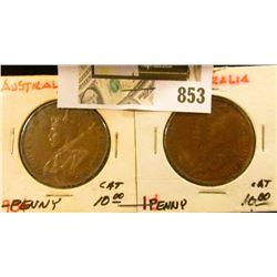 1934 & 35 Australia Copper Large Pennies, VF.