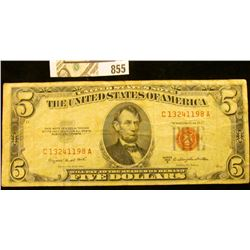 """Series 1953B $5 United States """"Red Seal"""" Bank Note, VG."""
