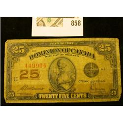 """Series 1923 """"Dominion of Canada .25c Fractional Note."""