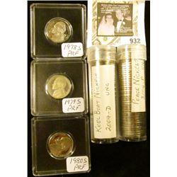 3 Proof Jefferson Nickels 78-S, 79-S, 80-S,  2 UNC rolls 2004-D Keel Boat, 2004-P Peace Jefferson Ni