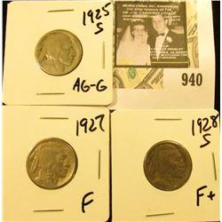 3 Buffalo Nickels  1925 S AG-G, 1927 F, 1928 S F+