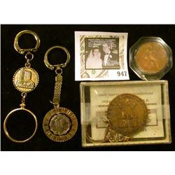 4 Key Chains - 1 1976 Liberty Bell, 1 The Mint -Las Vegas with Coin Bezel, Last one contains 2 Mercu