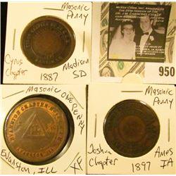 3 Masonic Pennys - Evanston, Ill  XF, Cyrus Chapter 1887 Madison, SD - Joshua Chapter 1897 Ames, IA