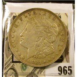 1921 D U.S. Morgan Silver Dollar, VF.