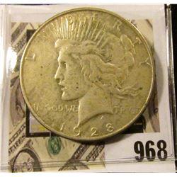 1928 S U.S. Silver Peace Dollar. Fine.
