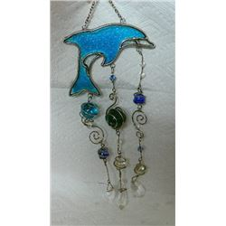 DOLPHIN STAINED GLASS WIND CHIME