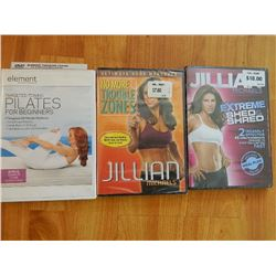 DVD'S - PILATES (OPEN) JILLIAN MICHAELS  NO MORE TROUBLE ZONES (SEALED NEW) & JILLIAN MICHAELS EXTRE