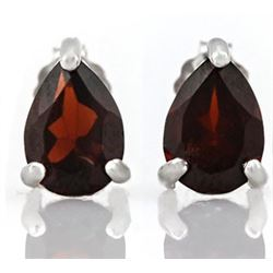EARRINGS -  1 ½  CTW PEAR FACETED PERSIAN RED GARNETS IN 925 STERLING SILVER SETTING - RETAIL ESTIMA