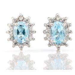 EARRINGS - 1.2 CTW BABY SWISS BLUE TOPAZ & DIAMOND IN 925 STERLING SILVER SETTING - RETAIL ESTIMATE