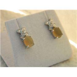 EARRINGS - NEW BROWN CHALCADONY & DIAMONDS EARRINGS - NEW BROWN CHALCADONY & DIAMOND IN STERLING SIL
