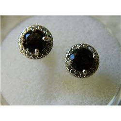 EARRINGS - ROUND FACETED BROWN SMOKEY TOPAZ & DIAMONDS IN STERLING SILVER SETTING - POST & BUTTERFLY