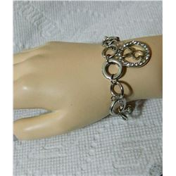 """ESTATE - BRACELET - BOW & HEART TOGGLE CLASP WITH PLAYBOY BUNNY CHARM - 7.5"""" LONG"""