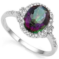 RING -  2.61 CARAT MYSTIC GEMSTONE & GENUINE DIAMONDS IN PLATINUM OVER 925 STERLING SILVER SETTING -
