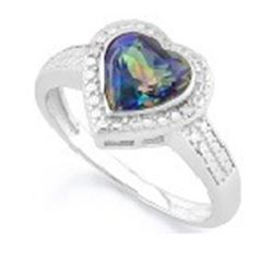 RING - 1 1/4 CARAT OCEAN MYSTIC GEMSTONE & IN  925 STERLING SILVER  HEART DESIGNED  SETTING  - SZ 8