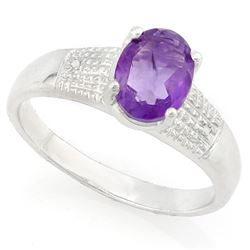 RING - 1 CARAT AMETHYST & DIAMOND IN 925 STERLING SILVER SETTING -  SZ 7 - RETAIL ESTIMATE $350