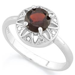 RING - 1 CARAT GARNET & DIAMOND IN 925 STERLING SILVER SETTING - SZ 7 - RETAIL ESTIMATE $450