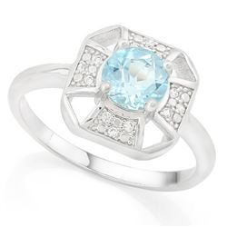 RING - 1/2 CARAT BABY SWISS BLUE TOPAZ & DIAMOND IN 925 STERLING SILVER SETTING - SZ 7 - RETAIL ESTI