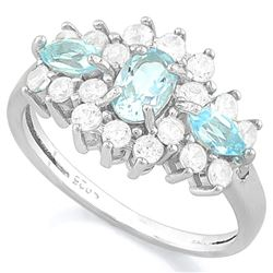 RING - 1/3CT AQUAMARINE & 3/4 CT BABY SWISS BLUE TOPAZ & 2 GENUINE DIAMONDS & 2 CREATED DIAMONDS IN
