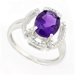 RING - 2 1/2 CARAT AMETHYST & GENUINE DIAMONDS IN 925 STERLING SILVER SETTING - SZ 7 - RETAIL ESTIMA