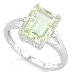 RING - 2 1/2 CARAT GREEN AMETHYST & DIAMOND IN 925 STERLING SILVER SETTING - SZ 8 - RETAIL ESTIMATE