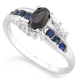 RING - 2/3 CT GENUINE BLACK SAPPHIRE & 4 3/5 CTW (8 PCS) GENUINE SAPPHIRE & 8 CREATED DIAMONDS IN 92