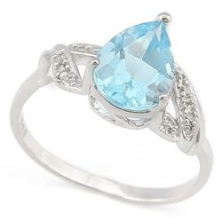 RING - 3 1/2 CARAT BABY SWISS BLUE TOPAZ & 2 DIAMONDS IN 925 STERLING SILVER SETTING - SZ 8 - RETAIL