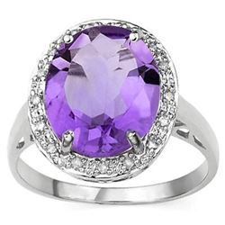 RING - 4 1/4 CARAT AMETHYST & DIAMOND IN 925 STERLING SILVER SETTING - SZ 7 - RETAIL ESTIMATE $550