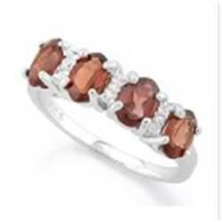 RING - 8 1/5 CARAT GARNET & 2 GENUINE DIAMONDS IN 925 STERLING SILVER SETTING - SZ 6 - RETAIL ESTIMA