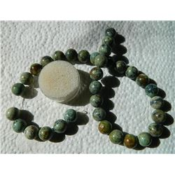 ROUND AGATE BEADS - GREEN / BROWN - 34 PC - 12MM DIAMETER