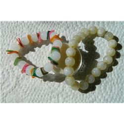 ROUND AGATE BRACELETS - 2 TTL stretch to put on