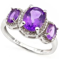 *RING -  2.65 CTW AMETHYST & GENUINE DIAMONDS IN 925 STERLING SILVER SETTING - SZ 8 - INCLUDES CERTI
