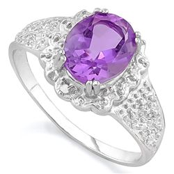 *RING - 1 2/3 CARAT AMETHYST & 2 GENUINE DIAMONDS IN 925 STERLING SILVER SETTING - SZ 7 - INCLUDES C