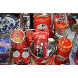 Collection of Coca Cola Tins; Salt/Pepper; Pail and Miscellaneous