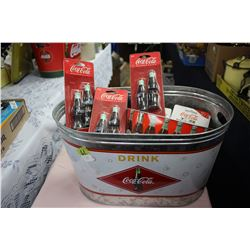 Two Ice Buckets with Coca Cola Coasters and Magnets