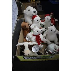 Flat with 7 Coca Cola Polar Bears & Other Misc. Stuffed Toys