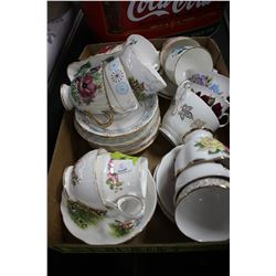 Flat of 14 China Cups & Saucers and a Cream & Sugar
