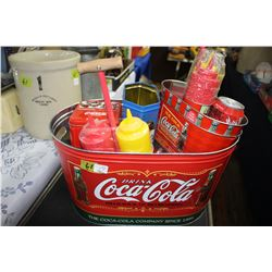 Coca Cola Ice Bucket with Cups; Collector Tins & Condiment Servers