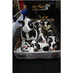 Flat with 8 Holstein Cow Salt, Pepper, Cream, Sugar, etc.