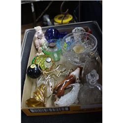 Flat of Miscellaneous Glassware - Cruets, Ornaments