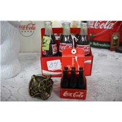 2 Miniature Coca Cola Six Packs and a Small Handle