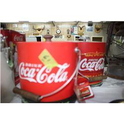 2 Coca Cola Ice Buckets with Lids & Handles