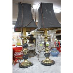 Pair of Black & Brass Table Lamps