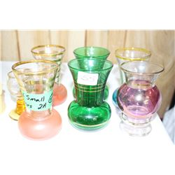 Collection of Small Gold Trimmed Vases (6)