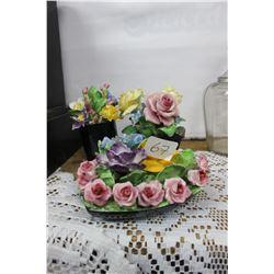 3 Coalport Porcelain Floral Arrangements - 'As Is'