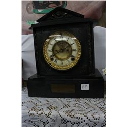 Marble Mantle Clock with Presentation Plaque on the Face
